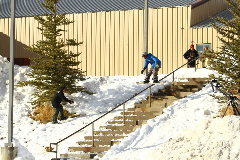 Ben boardslide in Colorado country
